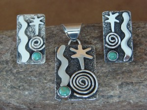 Navajo Indian Sterling Turquoise Petroglyph Pendant & Earring Set - Alex Sanchez