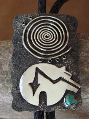 Native American Jewelry Sterling Silver Turquoise Bolo Tie by Alex Sanchez