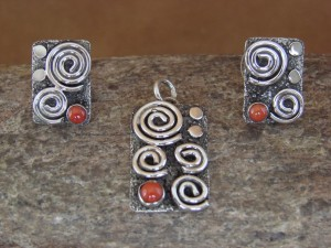 Navajo Indian Sterling Silver Coral Pendant & Earrings Set Alex Sanchez