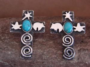 Navajo Indian Sterling Silver Turquoise Cross Petroglyph Earrings Alex Sanchez!