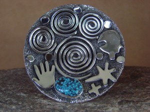 SWAIA Native American Jewelry Sterling Silver Turquoise Ring Alex Sanchez Size 8