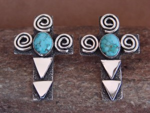 Navajo Indian Sterling Silver Turquoise Cross Petroglyph Earrings Alex Sanchez!