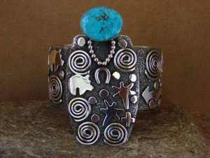 Navajo Sterling Silver Turquoise Grandmother Petroglyph Bracelet Alex Sanchez