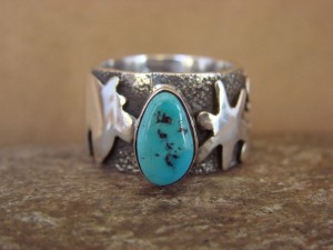 Native American Jewelry Sterling Silver Turquoise Ring by Alex Sanchez Size 8