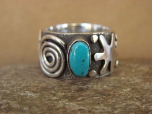 Native American Jewelry Sterling Silver Turquoise Ring by Alex Sanchez Size 10