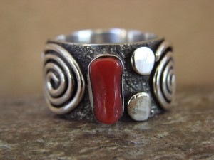 Native American Jewelry Sterling Silver Coral Ring by Alex Sanchez Size 9
