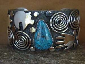 "Navajo Indian Sterling Silver Turquoise 1.25"" Petroglyph Bracelet by Alex Sanchez!"