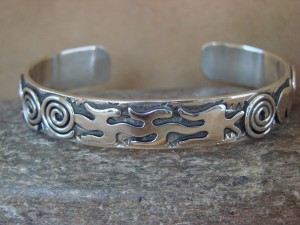 "Navajo Indian Sterling Silver 3/8"" Hand Stamped Petroglyph Bracelet by Alex Sanchez!"