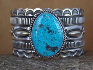 Large Heavy Navajo Indian Sterling Silver Turquoise Bracelet by Alex Sanchez