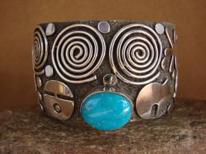 "Navajo Indian Sterling Silver Turquoise 1.5"" Petroglyph Bracelet by Alex Sanchez!"