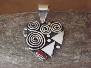 Navajo Indian Sterling Silver Coral Petroglyph Heart Pendant Alex Sanchez!