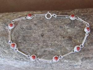 Zuni Indian Jewelry Coral Sterling Silver Link Bracelet! Rosie Laweka