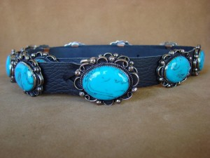 Navajo Indian Stamped Silver Turquoise Concho Belt by Jackie Cleveland! BLT60