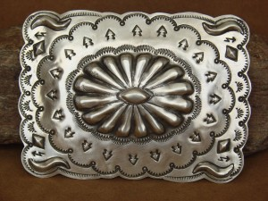 Native American Jewelry Sterling Silver Hand Stamped Belt Buckle J. Smith