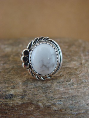 Navajo Indian Jewelry Sterling Silver Howlite Ring Size 5.5 by Cadman