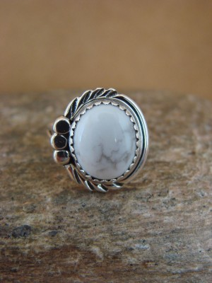 Navajo Indian Jewelry Sterling Silver Howlite Ring Size 6.5 by Cadman
