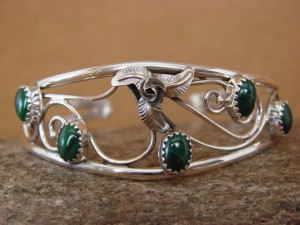 Native American Indian Jewelry Malachite Sterling Silver Bracelet