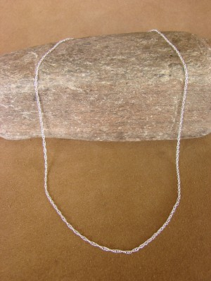 "Southwestern Jewelry Sterling Silver Rope Chain Necklace 20"" Long x 1MM"