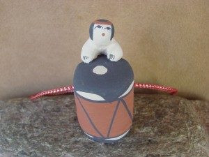 Jemez Pueblo Indian Handmade Clay Drum Christmas Ornament, Henrietta Gachupin Toya