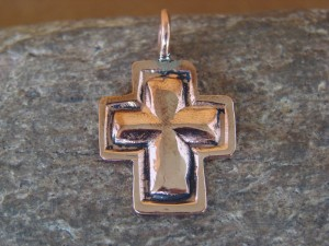 Native American Jewelry Copper Cross Pendant by Ronnie Willie
