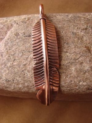 Navajo Indian Copper Feather Pendant! Hand Made by Douglas Etsitty