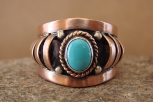 Navajo Indian Jewelry Handmade Copper Turquoise Ring! Size 7