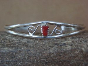 Navajo Indian Jewelry Sterling Silver Coral Bracelet by J. Lincoln