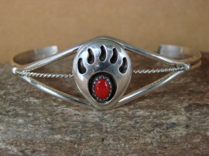 Navajo Indian Sterling Silver Coral Bear Paw Child's Bracelet! Janice Spencer