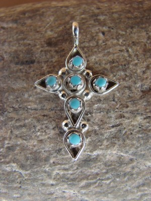 Small Zuni Indian Jewelry Sterling Silver Turquoise Cross Pendant by Bowannie