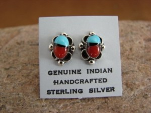 Zuni Indian Sterling Silver Turquoise & Coral Post Earrings! Handmade!