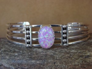 Navajo Indian Jewelry Sterling Silver Pink Opal Bracelet! Signed!