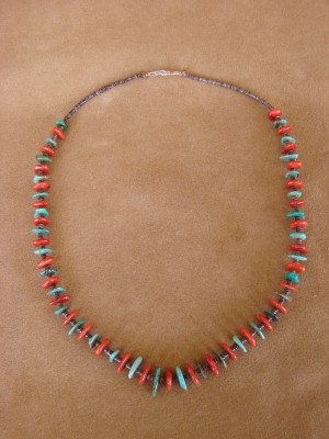 Native American Santo Domingo Coral Heishi Necklace - Jeanette Calabaza