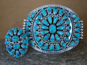 Native American Indian Sleeping Beauty Turquoise Cluster Bracelet Ring Set! Nora Tsosie