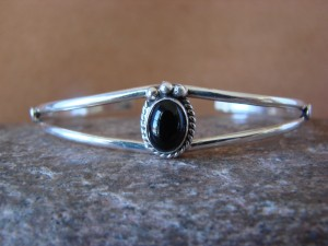 Small Navajo Indian Jewelry Sterling Silver Black Onyx Bracelet by J. Mariano