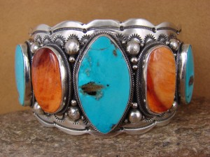 Native American Jewelry Sterling Silver Turquoise & Spiny Oyster Bracelet