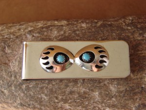 Navajo Indian Jewelry Turquoise Bear Paw Money Clip! Sterling Silver Mens