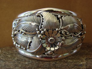 Large Navajo Indian Sterling Silver Bracelet by G. Delgarito