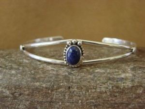 Small Navajo Indian Jewelry Sterling Silver Lapis Bracelet by J. Mariano