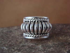 Native American Indian Jewelry Sterling Silver Ribbed Ring by Thomas Charley! Size 6