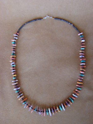 Native American Santo Domingo Spiny Oyster and Turquoise Heishi Necklace - Jeanette Calabaza