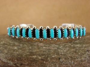 Zuni Indian Jewelry Sterling Silver Turquoise Row Bracelet! Hannaweeka