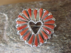 Zuni Indian Sterling Silver Coral Heart Pin Pendant by Bloak