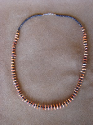 Native American Santo Domingo Spiny Oyster Heishi Necklace - Jeanette Calabaza