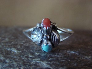 Native American Jewelry Sterling Silver Turquoise and Coral Ring! Size 5 Begay