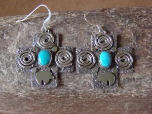 Native American Sterling Silver Petroglyph Turquoise Cross Earrings by Alex Sanchez!