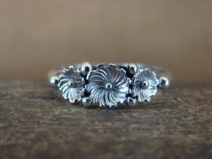 Native American Jewelry Sterling Silver Flower Ring, Size 8 Rita Montoya