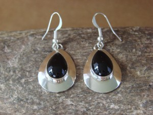 Native American Sterling Silver Tear Drop Onyx Dangle Earrings by Russel Wilson Navajo