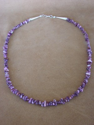 Navajo Indian Jewelry Hand Strung Purple Spiny Oyster Necklace