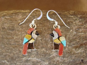 Zuni Indian Jewelry Sterling Silver Inlay Parrot Bird Earrings by Stephen Lonjose