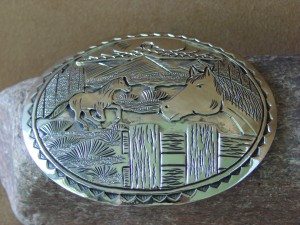 Navajo Indian Jewelry Nickel Silver Hand Stamped Horse Belt Buckle - Livingston